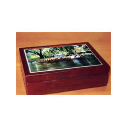 Cherry Wood Traditional Box with Tile of Swan Boats