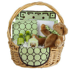 Chocolate Mint Design Baby Gift Basket