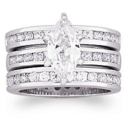 5.5 Carat Marquise Cubic Zirconia Wedding Ring Set