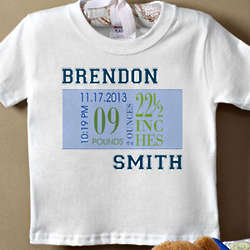 Baby Boy's Birth Date Personalized T-Shirt