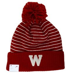 Women's Wisconsin Striped Knit Pom Hat