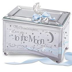 Granddaughter, I Love You To The Moon Music Box with Name