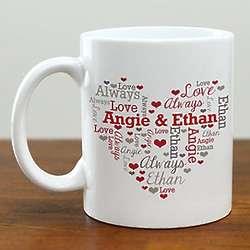 Personalized Couples Heart Word-Art Mug