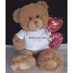 Personalized T-Shirt Valentine Teddy Bear with Heart Balloon