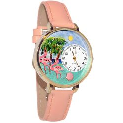 Flamingo Whimsical Watch in Large Gold Case
