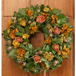 "18 "" Preserved Autumn Roses Wreath"