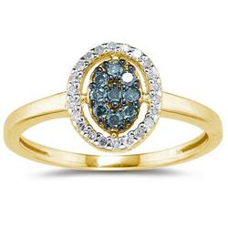 Round Cut Blue and White Diamond Ring in Yellow Gold