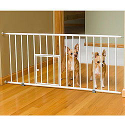 Step-Over Mini Gate with Pet Door and Extensions