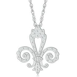 Sterling Silver Diamond Fleur di Lis Necklace