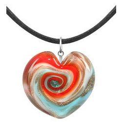 Aventurine & Murano Glass Heart Necklace