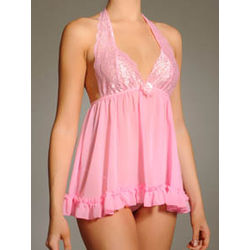 Stretch Lace & Chiffon Halter Babydoll with G-String Set