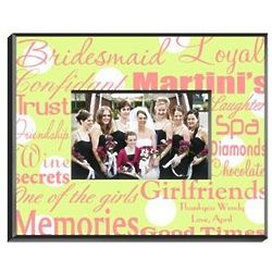 Personalized Pink and Green Bridesmaid Frame