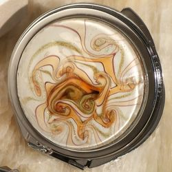 Murano Golden Brown Glass Round Compact Mirror