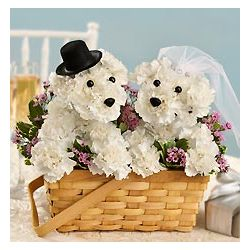 Bride and Groom Dog-Shaped Floral Arrangement
