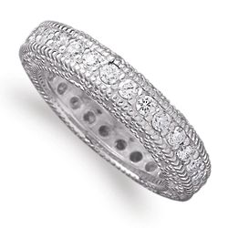 Sterling Silver Cubic Zirconia Heirloom Wedding Band