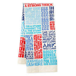 Typographic Tongue Twister Kitchen Towel