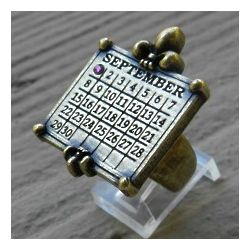 Pewter Calendar Ring with Swarovski Crystal