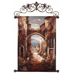 Archway to the Sea Painted Canvas Tapestry