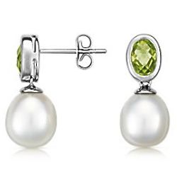 Sterling Silver Freshwater Cultured Pearl and Peridot Earrings