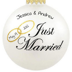 Just Married Double Ring Glass Ornament