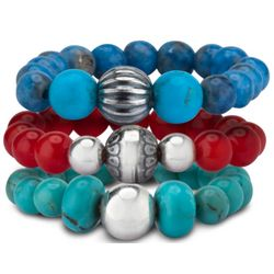 Large Coral, Turquoise, and Denim Lapis Beaded Stretch Rings