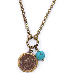 Indian Head Cent and Turquoise Bead Pendant