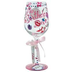 Personalized Birthday Diva Wine Glass