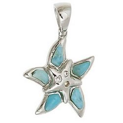 Larimar and Sterling Silver Starfish Pendant