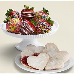 Mother's Day Linzer Cookies and Dipped Strawberries