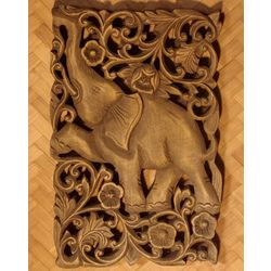 Walk in Jungle Wood Relief Panel