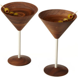 Handcrafted Wooden Martini Glasses