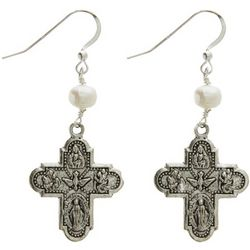 4-Way Cross Pewter Earrings with Freshwater Pearls