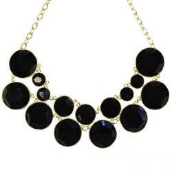 Designer Inspired Double Layer Black Bubble Necklace