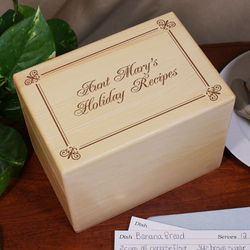 Engraved Holiday Recipes Box