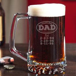 World's Best Dad Engraved Beer Mug