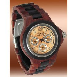 Men's Multi-Dial Light Face Sandalwood Watch