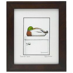 Peeking Duck Framed Bathroom Art