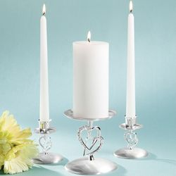 Twin Heart 3-Piece Candleholder Set