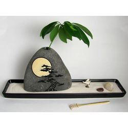 The Artist Ceramic Sand Garden with Painted Moon Rock Vase