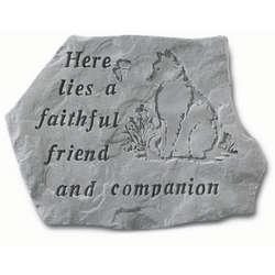 Here Lies a Faithful Friend Cat Memorial Stone