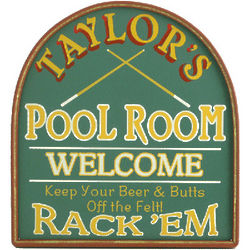 Personalized Wooden Pool Room Sign