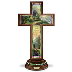 Thomas Kinkade Illuminated Stained Glass Hope Cross