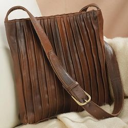 Pleated Leather Crossbody Bag