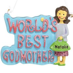 Personalized World's Best Godmother Ornament