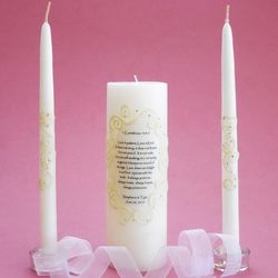 Personalized Oval Lace Corinthians 1 Unity Candle Set