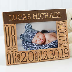 Baby Love Birth Information Personalized Picture Frame