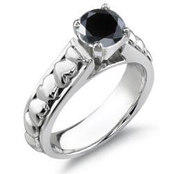 1 Carat Black Diamond Heart Ring in 14 Karat White Gold