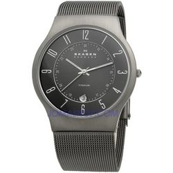 Men's Titanium Mesh Watch with Charcoal Dial