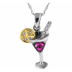 14K Diamond Pink Sapphire Martini Lemon Pendant Necklace