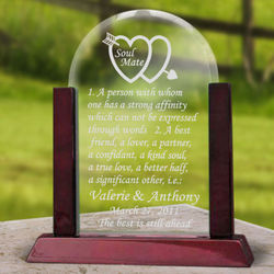 Personalized Soul Mate Definition Glass Arch Keepsake